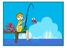 Fishing. Cartoon boy on white background Royalty Free Stock Images