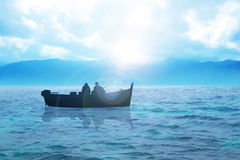 Fishing. Silhouette illustration of two men fishing Stock Photography