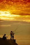 Fishing. Morning in the beach Cilacap city, Central Java, Indonesia Royalty Free Stock Images