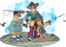 Fishing. This illustration that I created dpicts a woman and 3 kids fishing Royalty Free Stock Photos