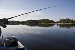 Fishing. Calm sea water full of fish, a beautiful may afternoon Stock Photo