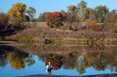Fishing. A man fishing on a fall afternoon Stock Photo
