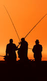 Fishing. Soaking stick-fishing at sunset Royalty Free Stock Photo