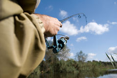 Fishing. On the river Dnieper Royalty Free Stock Photography