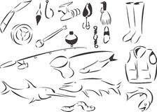 Fishing. 20 themed EPS images related to fishing. The number of vector nodes is absolute minimum. The images are very easy to use and edit and are extremely Stock Photo