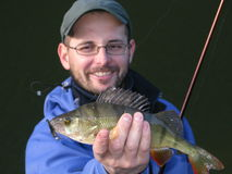 Fishing. Fisherman with perch on lake Stock Photography
