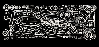 Fishing. Stylize fish on a black background Royalty Free Stock Photos