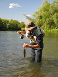 Fishing. Fly fishing in summer river Royalty Free Stock Photos