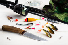 Fishing accessories Royalty Free Stock Photos