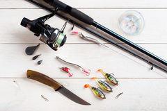 Fishing accessories Royalty Free Stock Photography