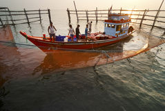 Fishing activities at the mouth of Mae Klong River, Thailand Stock Photo