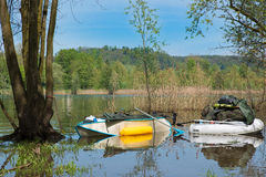 Fishing adventure. Departure for a few days of fishing on a large lake Royalty Free Stock Photography