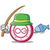 Fishing Aeternity coin mascot cartoon. Vector illustration Stock Photo