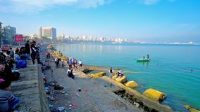 Fishing in Alexandria city center, Egypt stock video