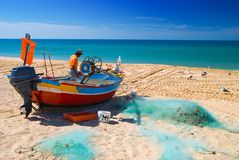 Fishing in the Algarve Royalty Free Stock Image
