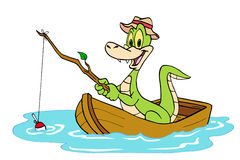 Fishing Alligator. Hand drawn cartoon of a gator on a boat fishing in a pond Royalty Free Stock Images