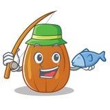 Fishing almond nut character cartoon Royalty Free Stock Photography