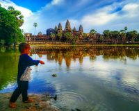 Fishing in Angkor Wat royalty free stock photography