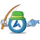 Fishing Ardor coin mascot cartoon. Vector illustration Royalty Free Stock Image