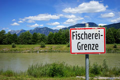 Fishing area. Sign of fishing area on the river in Austria Stock Image
