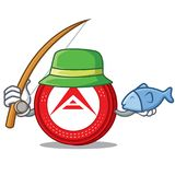 Fishing Ark coin character cartoon. Vector illustration Royalty Free Stock Images