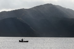 Fishing on Ashi lake, Hakone Royalty Free Stock Photos