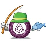 Fishing Augur coin mascot cartoon. Vector illustration Royalty Free Stock Images