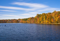 Fishing on an autumn day. This beautiful fall day and fishing go hand in hand royalty free stock photos
