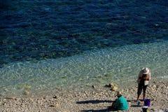 Fishing at Avatele Bay Stock Images
