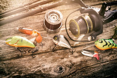 Fishing background angler wobbler spinning bait concept. Fishing background angler wobbler spinning bait gear rod concept - stock image stock images