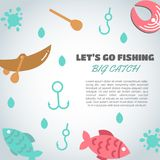 Fishing background. Big catch text. Background with quote about fishing. Flat fish icons, with net or rod. Salmon steak. And boat, fisher tackles, baits Vector Stock Photo