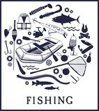 Fishing background. Vector set of various stylized icons for fishing Stock Images