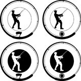 Badge. Fishing badge with angler and fishing rod Royalty Free Stock Photography