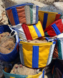 Fishing bags. Colourful fishing bags in Cyprus stock image