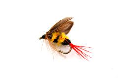 Fishing bait. Colorful bait with yellow stripes used for fishing Stock Photos