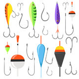 Fishing bait. Fish lure with hook flat icons isolated on white background. Vector illustration Web site page and mobile app design. Element Royalty Free Stock Photos