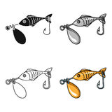 Fishing bait icon in cartoon style isolated on white background. Fishing symbol stock vector illustration. Fishing bait icon in cartoon design isolated on white Stock Images