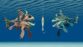 Fishing bait and monstrous fish. Computer generated 3D illustration with fishing bait and monstrous fish Stock Photos