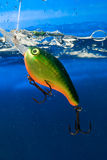 Fishing bait,wobbler. Fishing bait underwater in a blue clear water Royalty Free Stock Photography