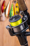 Fishing bait wobbler and reel with line Royalty Free Stock Photos