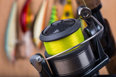 Fishing bait wobbler and reel with line Stock Photo