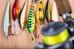 Fishing bait wobbler and reel with line Royalty Free Stock Image