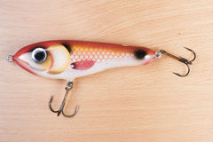 Fishing bait. On wooden board Stock Images