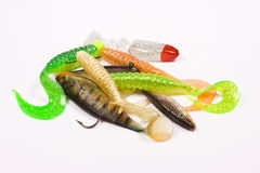 Fishing baits. Red, green, white, brown, gold- studio isolated Stock Images