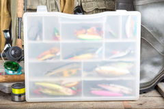 Fishing baits in blure storage box Royalty Free Stock Photos