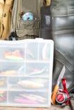 Fishing baits in blure storage box Stock Photography