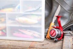Fishing baits in blure storage box Royalty Free Stock Image