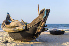 Fishing bamboo boat and basket boat in Vietnam Royalty Free Stock Photo