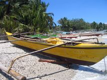 Fishing bankas small outrigger boats philippines Royalty Free Stock Images