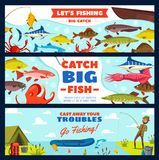 Fishing banner with fisherman, fish, rod and hook. Fishing banner with fisherman and fish on hook. Fisher with rod and fish catch on river bank, freshwater perch Stock Images